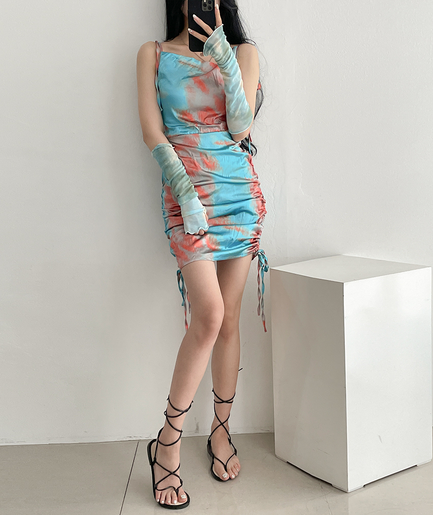 Teen satin water print drawing string bustier mini Dress