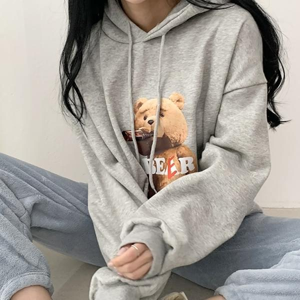 Brushed Cotton Teddy Bear Balloon Overfit Hoodie 3color