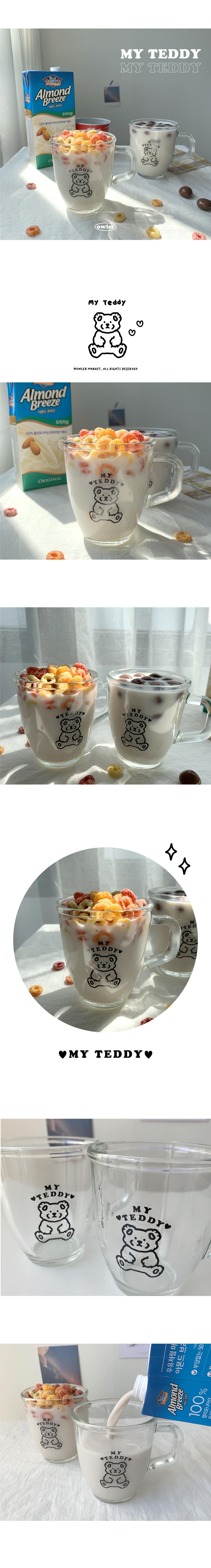マイテディホームカフェ透明なガラスのマグカップ