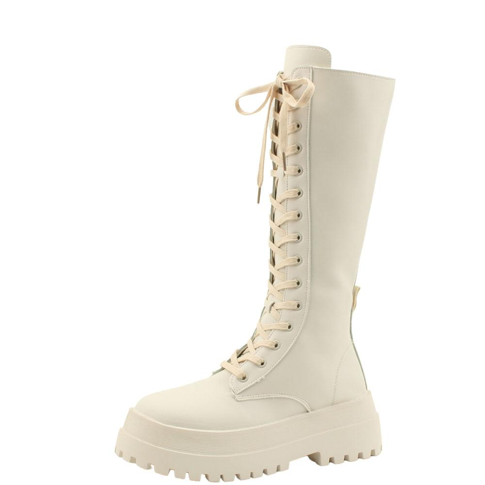 Whole-heeled tall walker laces long boots beige