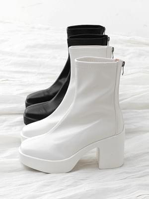 Simple square nose chunky heel high heel back zipper Socks boots 11093