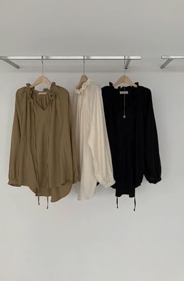 back pleated shirring long blouse