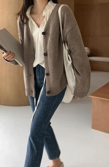 Smooth V-Neck Wool Boxy Cardigan