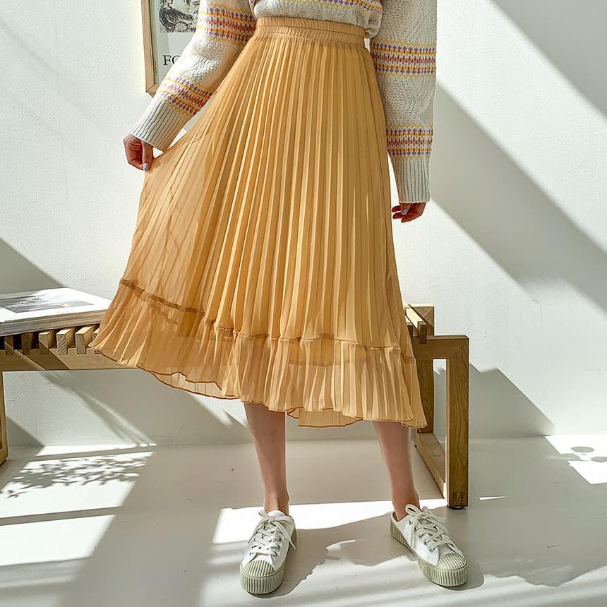 Half-shin wrinkle skirt