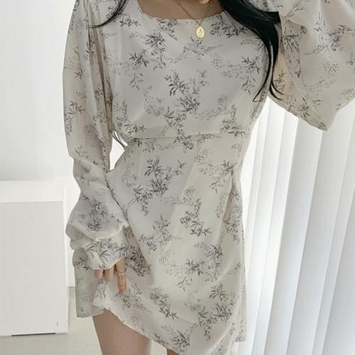 Flower Square Puff Balloon Belted Chiffon Dress 3color