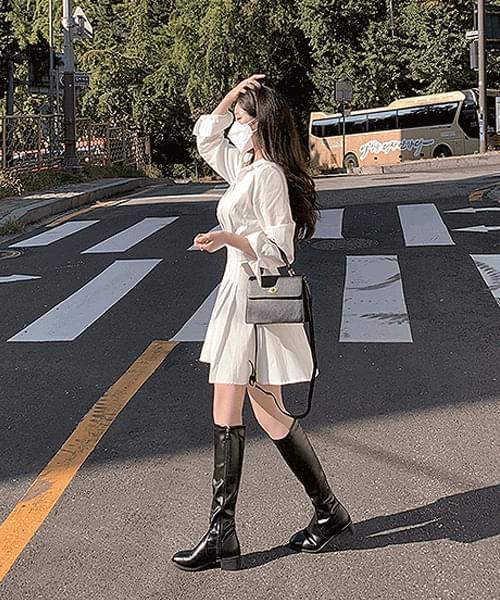 Second date long sleeve ver. Pintuck Waistband Pleated Shirt Mini Dress