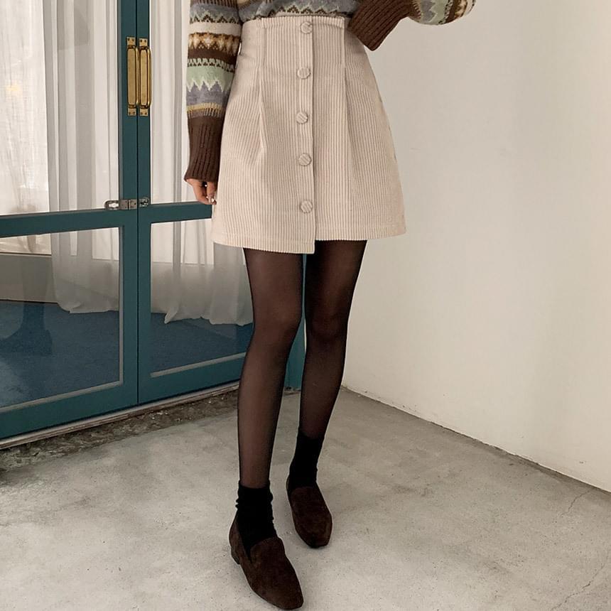 Golden Pin Tuck Skirt