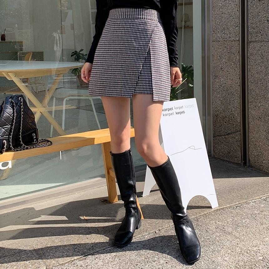 Montblanc check wool skirt