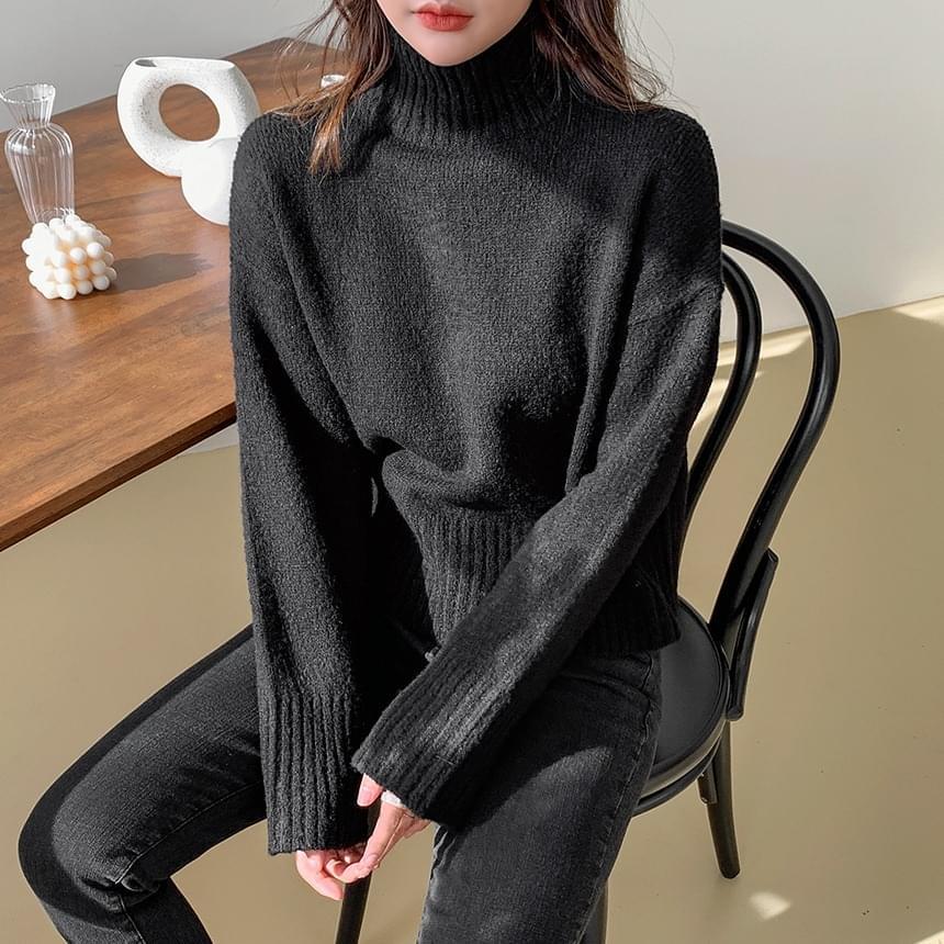 Wrinkle Crop Turtleneck Knitwear