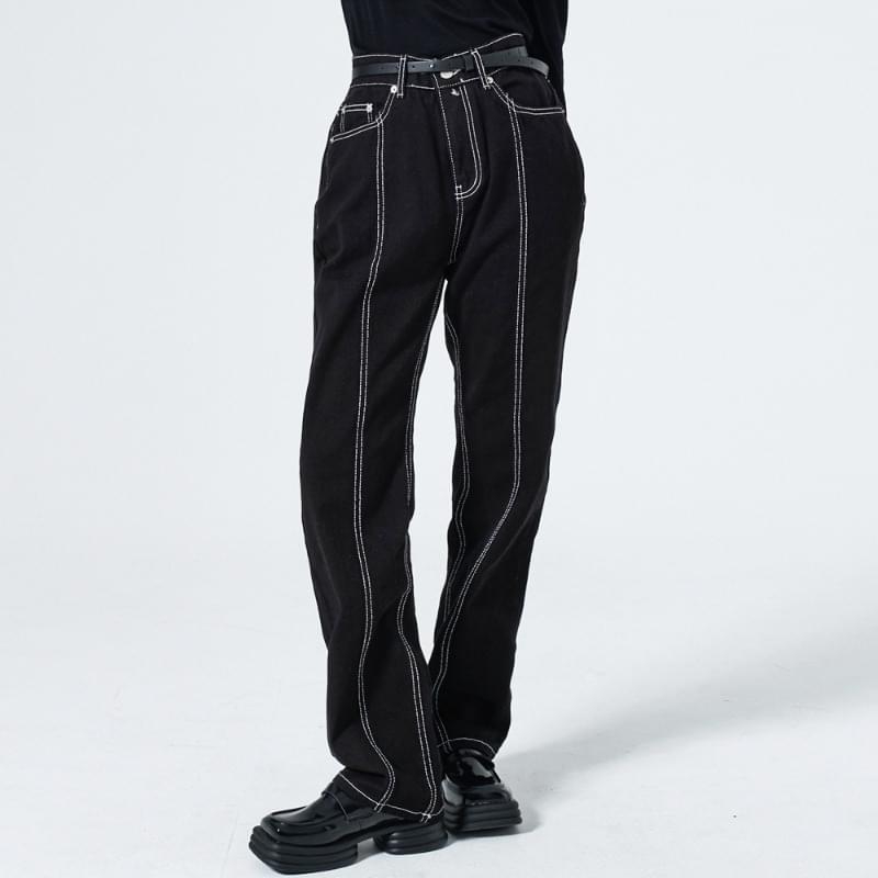 hito stitch denim trousers