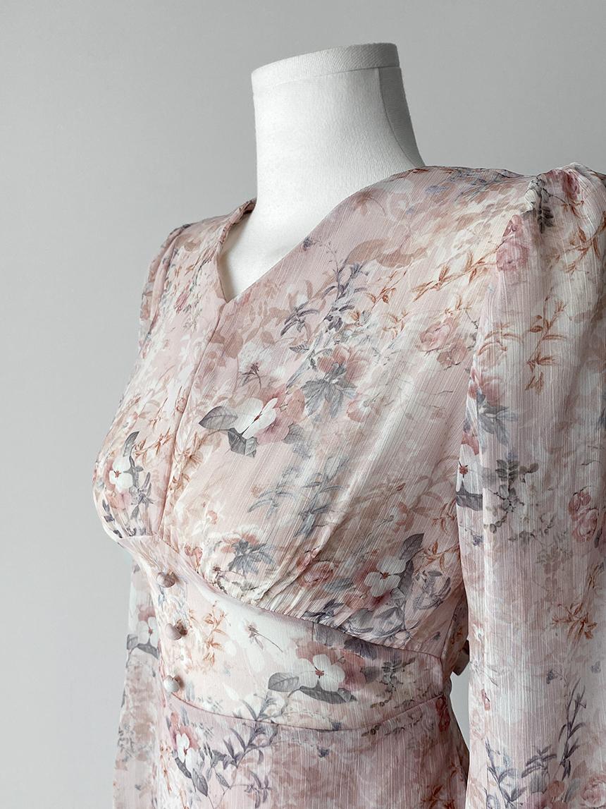 High quality watercolor flower chiffon long Dress