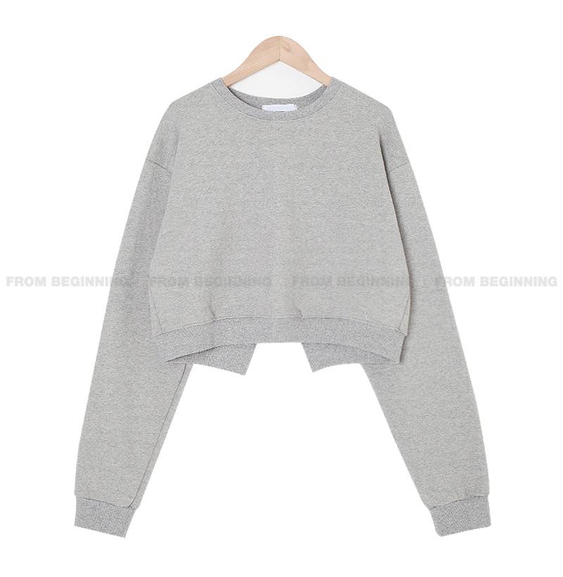 back slit cropped Sweatshirt