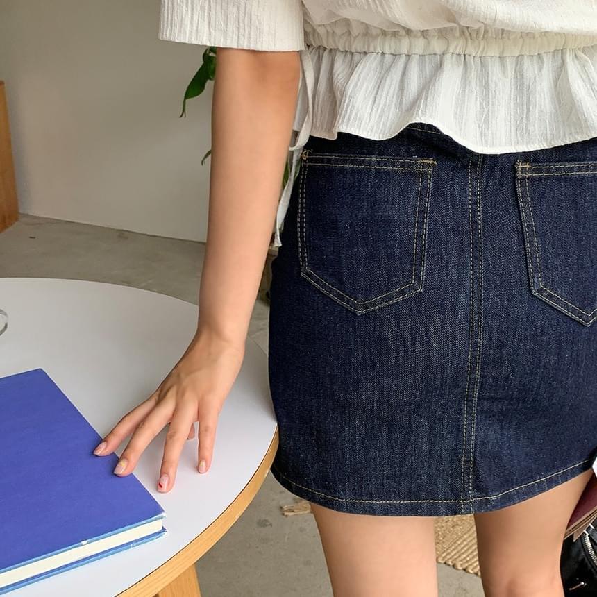 Deep Raw Denim Skirt
