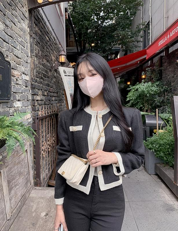 dark color tweed jacket