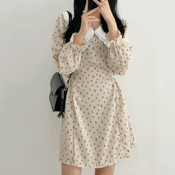 Lovely Big Collar Flower String Mini Dress