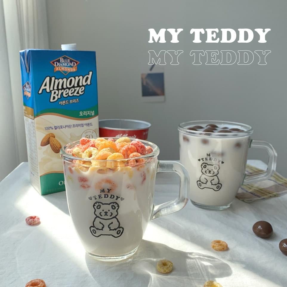 My Teddy Home Cafe Clear Glass Mug