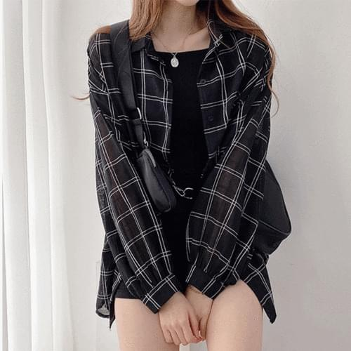Loose-fit with see-through check long sleeve Shirt 2color