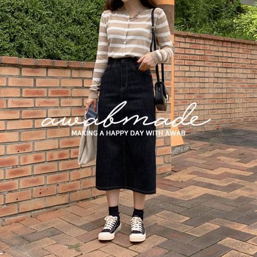 Indigo raw paper long skirt (ver. secret banding/special processing dyeing)