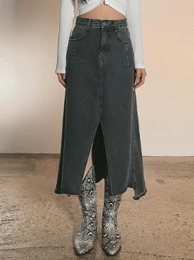 split collar denim long skirt