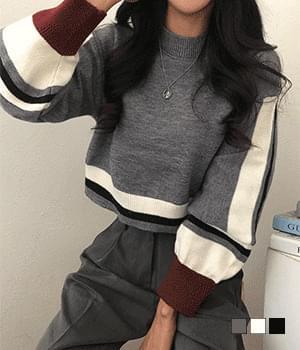 Street sensibility color matching balloon knitwear