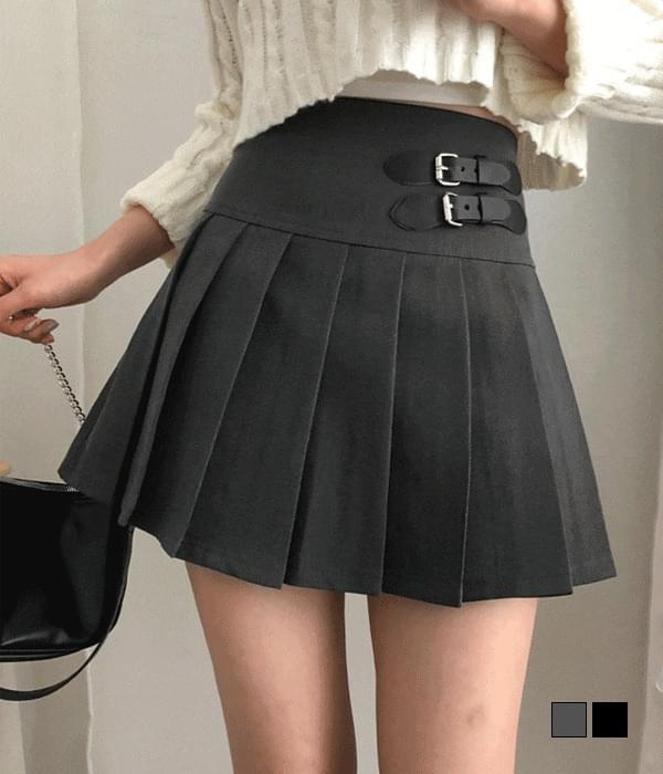 buckle pleated mini skirt (Delayed delivery)