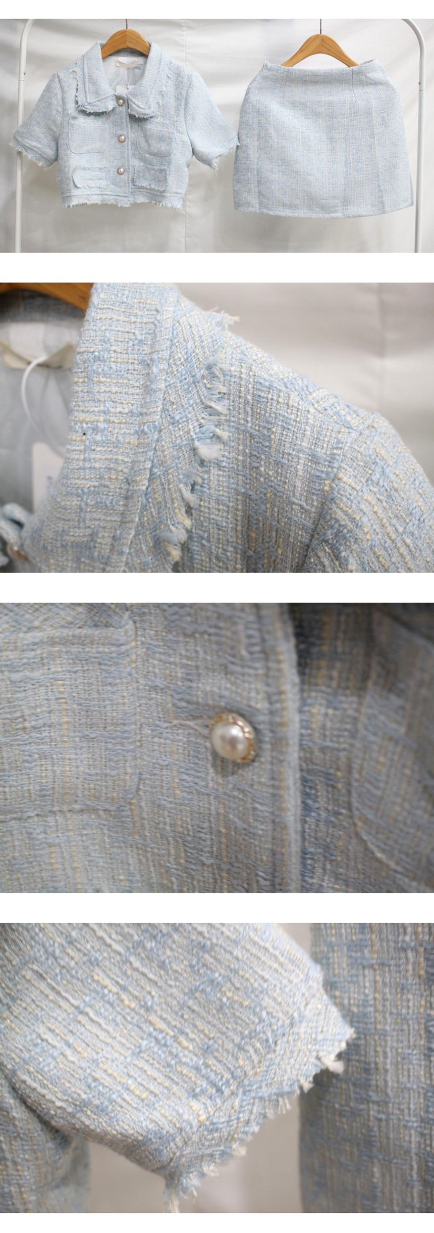 Double Tweed Pearl Crop Short Sleeve Two-Piece Set