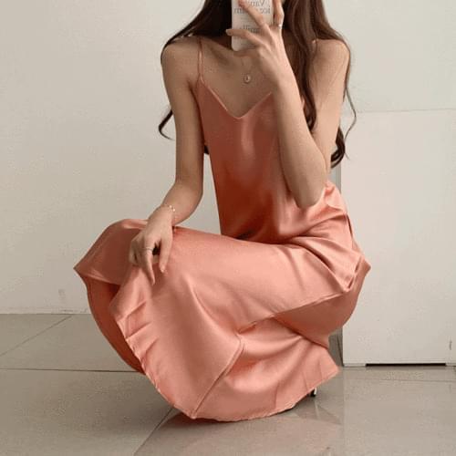 Silky Sleeveless Layered Maxi Dress 4color