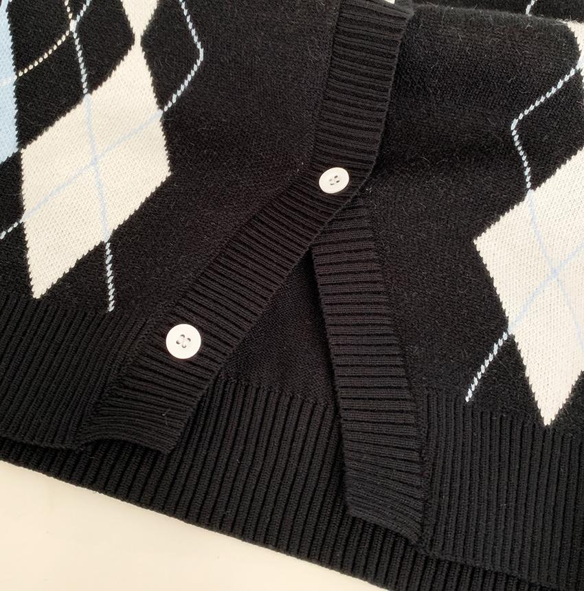 Classic Argyle Knitwear Cardigan