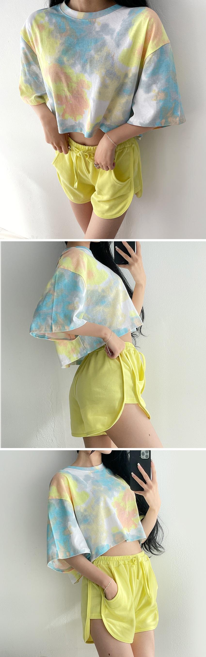 Water print tie-dye crop box short sleeve tee 4color