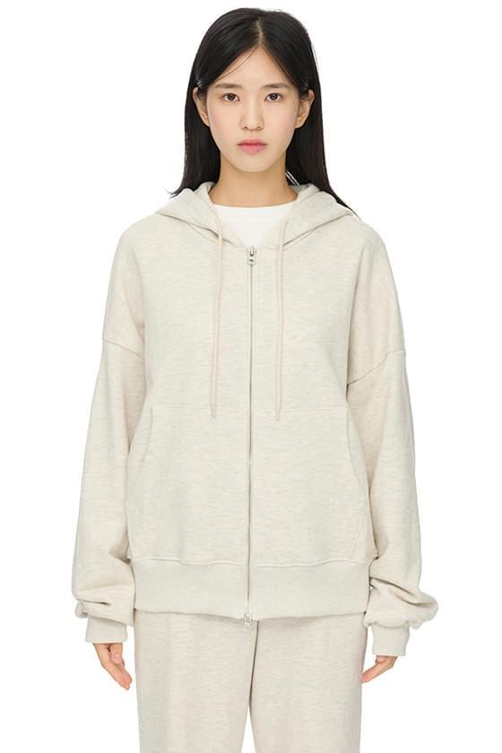 and two-way hooded zip-up sweatshirt