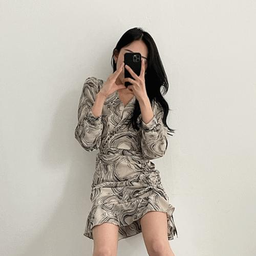 Water printing V-Neck marble shirring mini Dress 2color