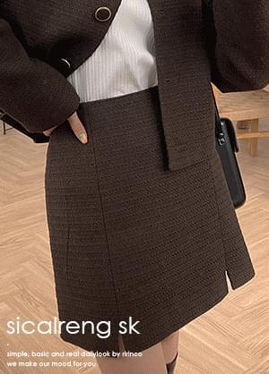 cicolin tweed slit mini two-piece skirt