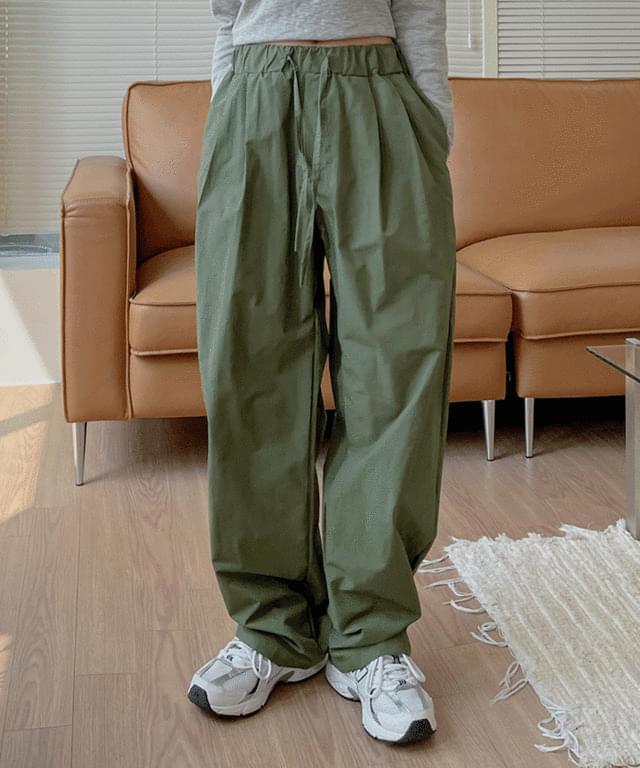 Mob Nylon Wide Pintuck Banding Pants