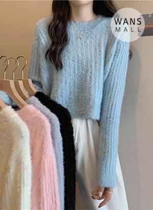 kn6160 Fluffy Crop Knitwear
