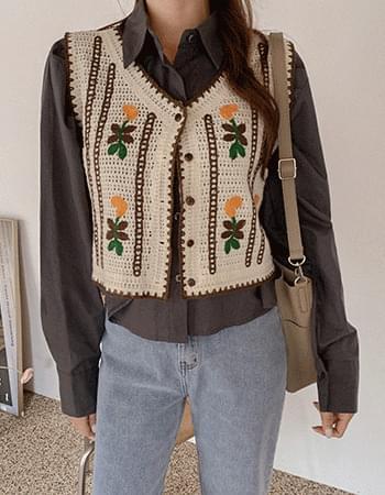 Flower Embroidery Knitwear Weave Best