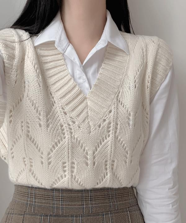 Dingo Twisted Knitwear Vest 3color