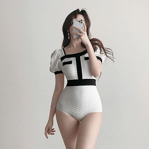 Gorgeous Coco Color Line Puff Monokini Dress Swimsuit 2color
