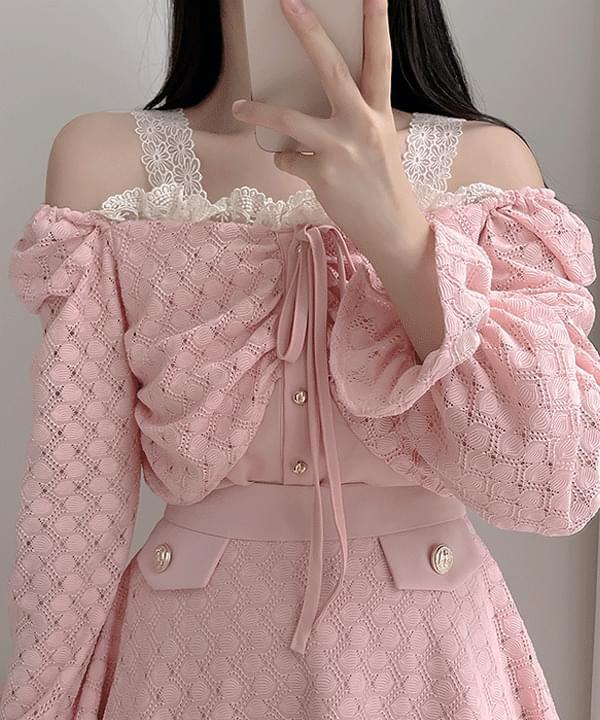 Kiko Lace Off Shoulder Blouse 2color