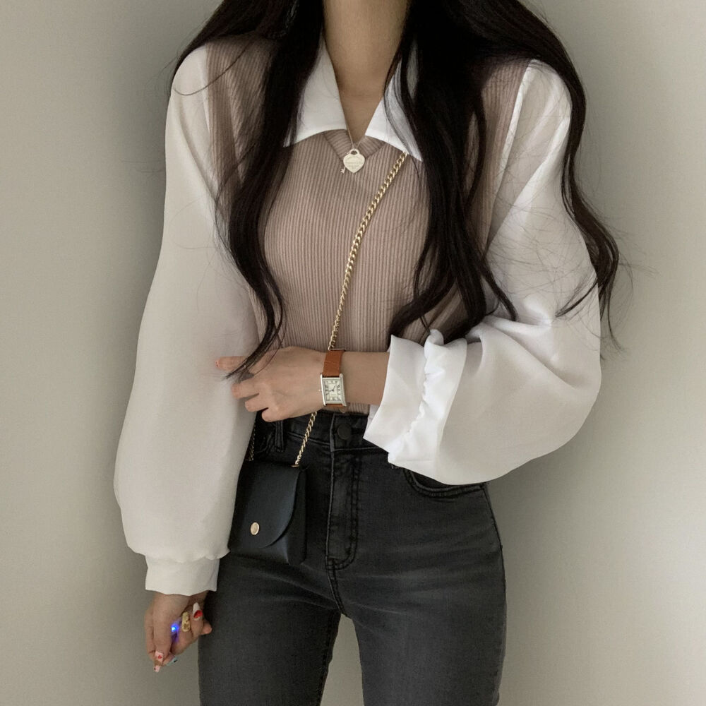 Vest and blouse in one piece