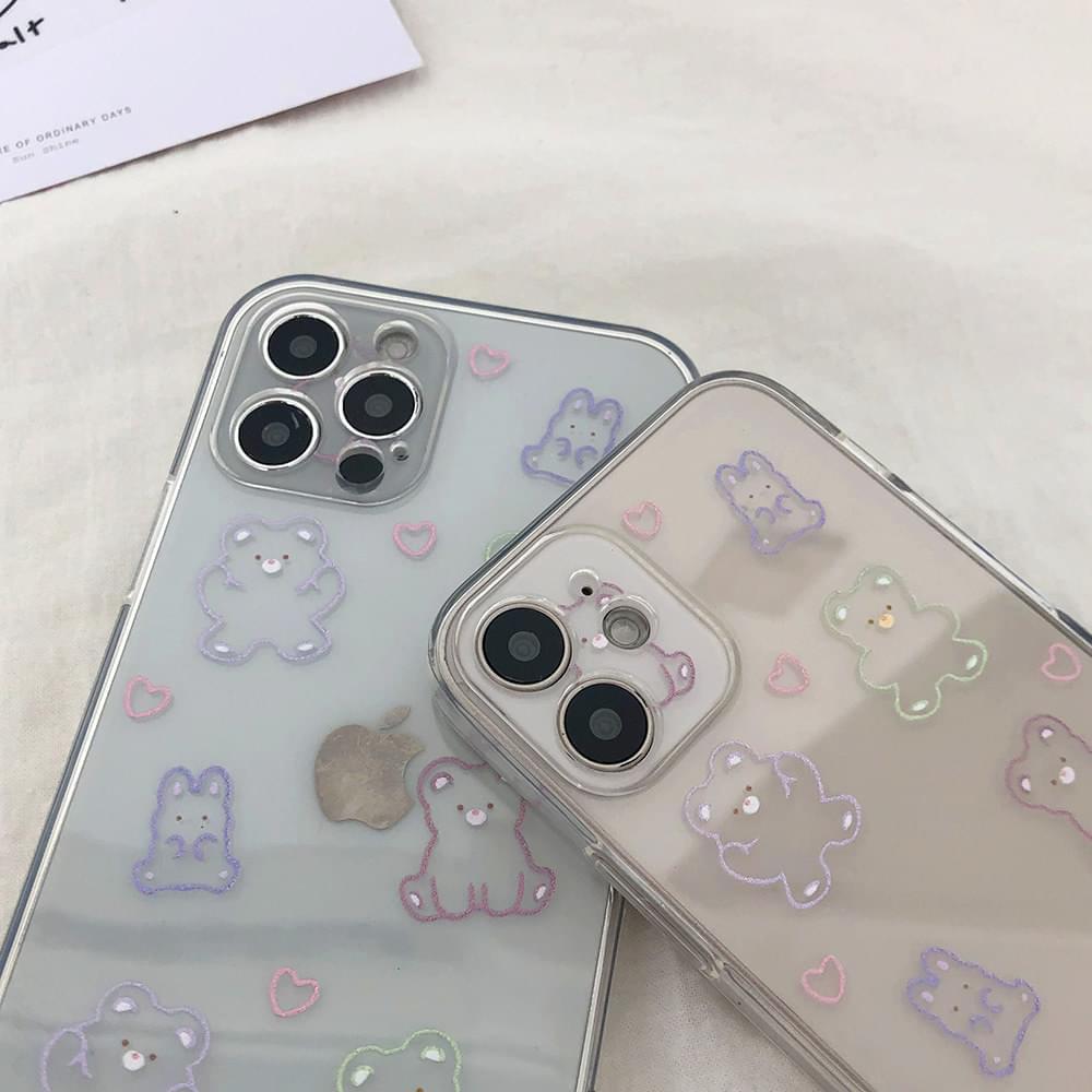 Rabbit Bear Heart Pattern iPhone Case