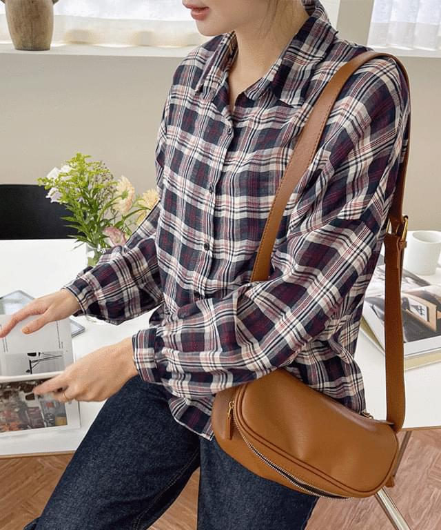 Big Size 55-120 Core Check Balloon Loose-fit Fit Shirt