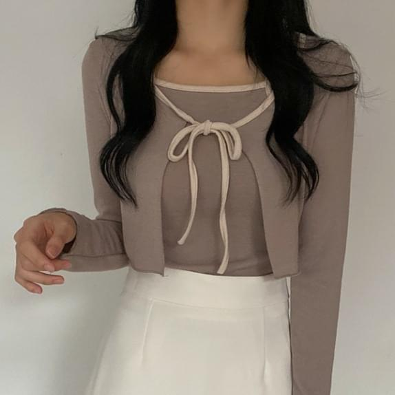 Soft Color Matching Cardigan SET Ribbon String Cardigan + String Sleeveless Set Product :D (Delayed delivery)