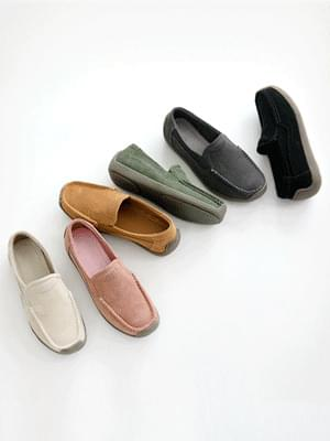 Foul item whole-heeled leather loafers 2cm