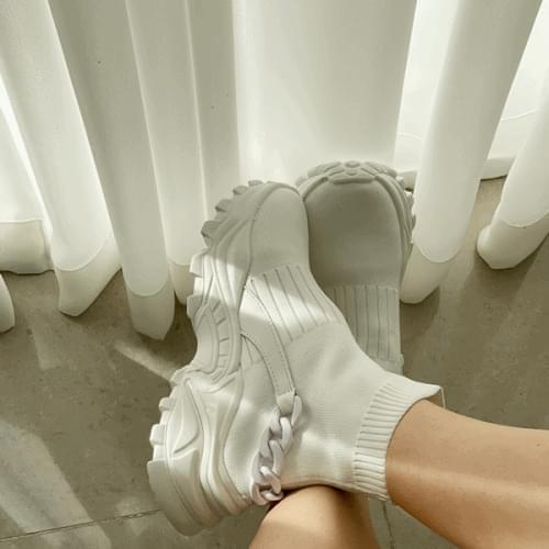 Chain Knitwear Socks Sneakers 5cm