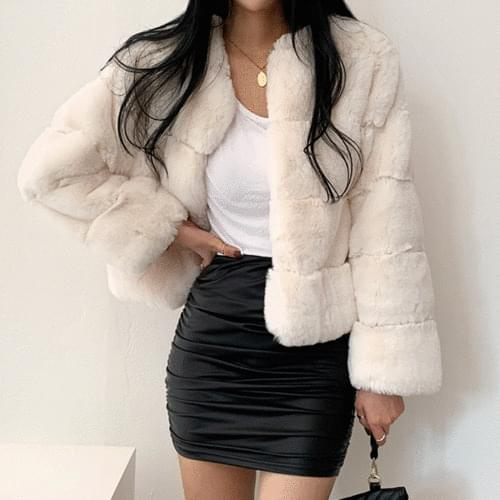 No-kara round mink fake fur cropped jacket 3color