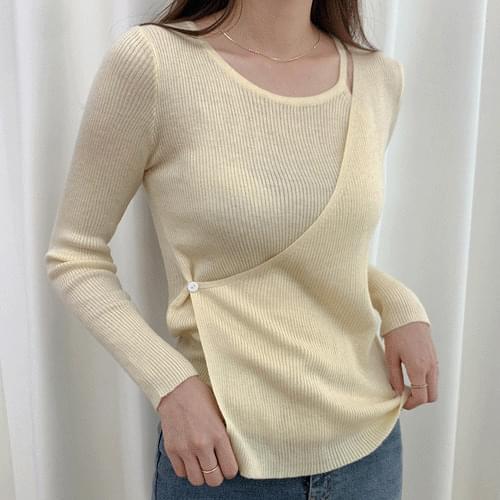 One Button Diagonal Sleeveless Wrap Cardigan Knitwear Shirt T#YW818
