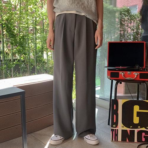 Side Button High Waist Pintuck Wide Long Slacks P#YW664