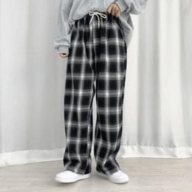 tartan check banding trousers