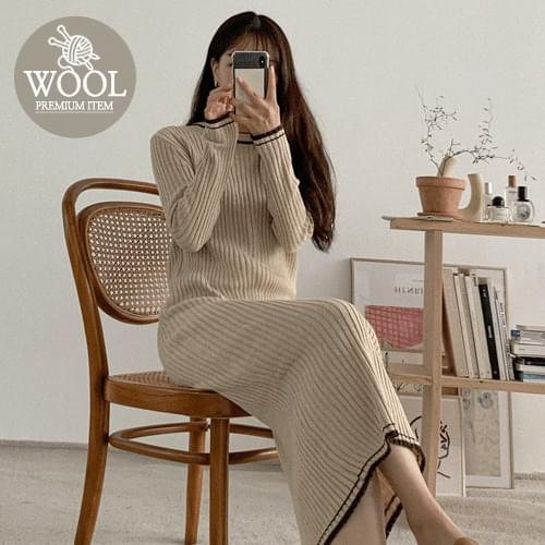 Color Matching Wool Knitwear Long Dress