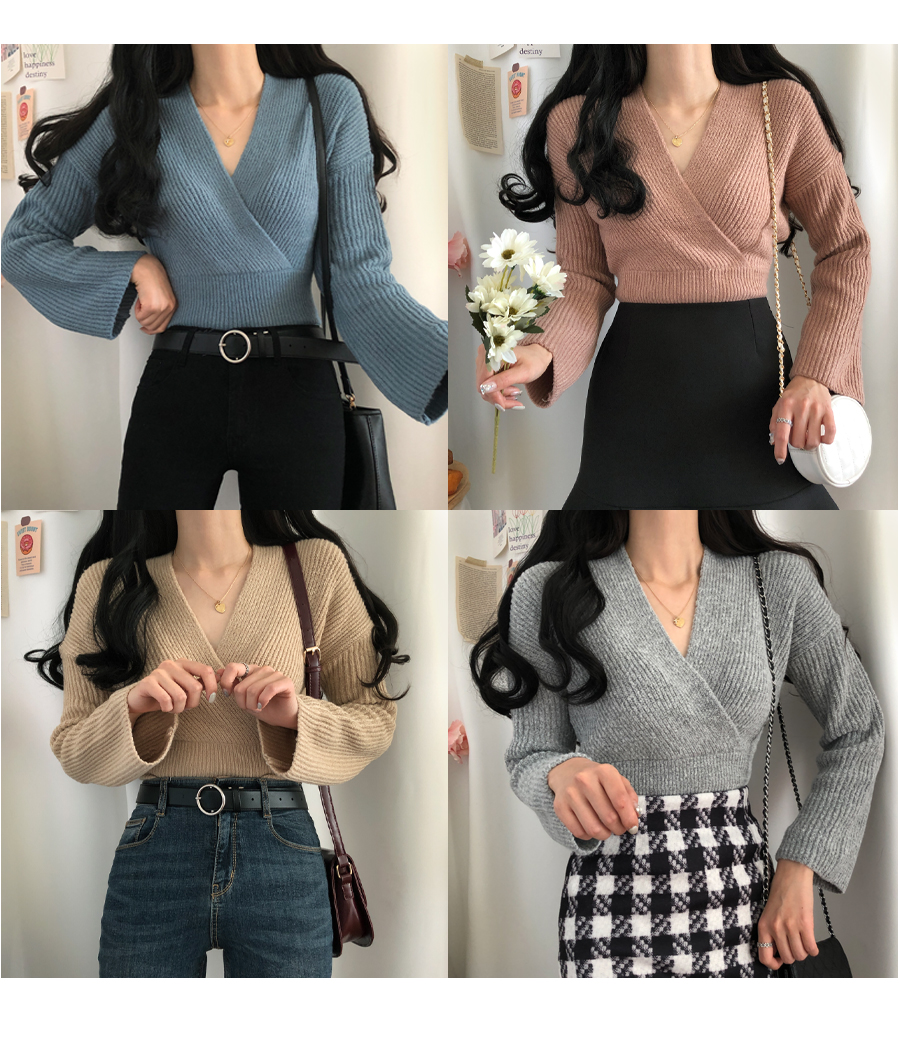 Neckline Pretty Ribbed Thick Wrap V Knitwear